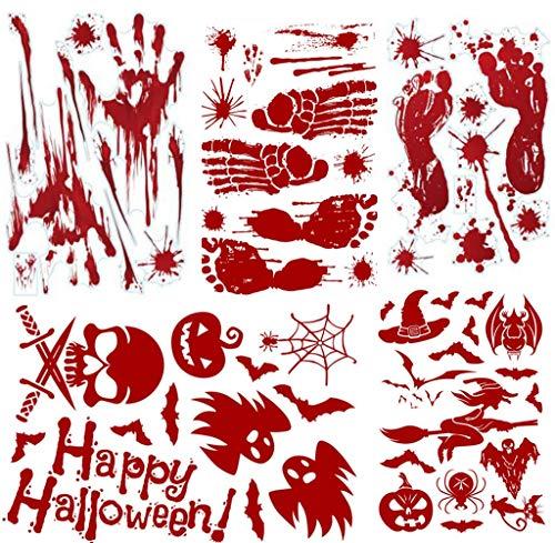 halloween kostueme kinderparty M MORCART Halloween Dekoration Aufkleber Stickers Set PVC Blutige Handabdrücke und Fußabdrücke Fledermäuse Kürbisse Geister Spinnen Schädel Kätzchen Hexen 62PCS