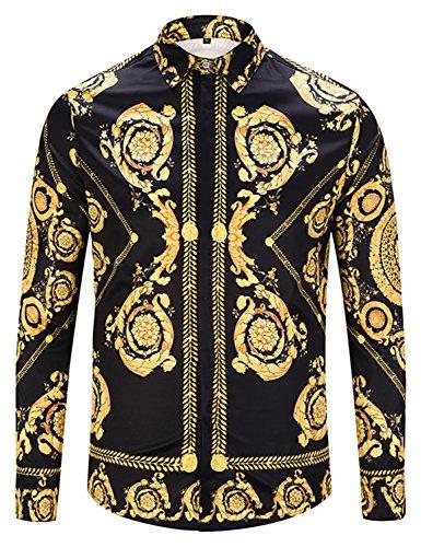 PIZOFF Herren Langarm Golden Hemden mit Baroque-Motiven, Y1792-57, M