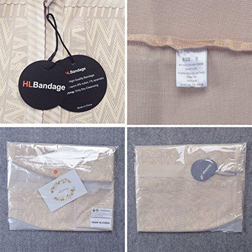 HLBandage PU-Leder Arabesquitic Mit Hoher Taille Kunstseide Bandage Rock Beige