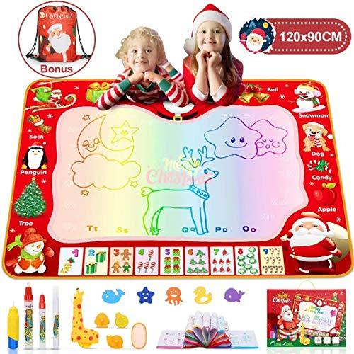 Jojoin Doodle Tappeto Magico 120*90cm, Super Dimensioni Tappeto Magico Bambini con Zaino con Coulisse, Quaderno di Pittura e Francobollo Carino Giraffa, Regali di Natale per Bambini - Natale