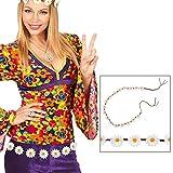 Hippie Blumengürtel Damen Gürtel mit Gänseblümchen 140 cm Flower Power Hüftgürtel Margeriten Bindegürtel
