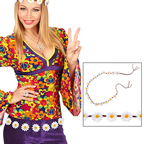 Amakando Damen Gürtel mit Gänseblümchen - 140 cm - Flower Power Hüftgürtel Flechtgürtel mit Blumen Margeriten Bindegürtel Schlagermove Kostüm Accessoire Hippie Blumengürtel