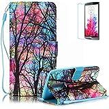 Funyye - Funda de piel de diseño elegante, modelo con flor de loto de colores, soporte a modo de libro, tipo cartera, con película protectora para iPhone 5/5S y iPhone SE Color-10 LG K7/K8
