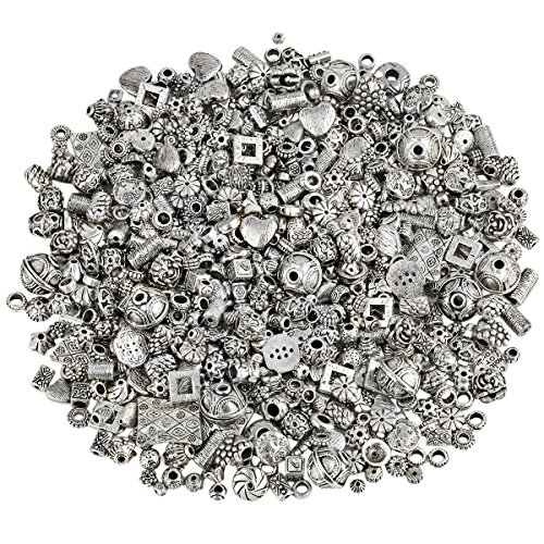 KYEYGWO 230 Gramm Verschiedene Legierung Perlen Spacer, Tibetischen Stil Europäischen Perlen für Schmuck DIY Machen Armbänder - Kostüm Schmuck Armbänder Großhandel