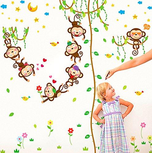 dschungel wandtattoo VEIERSIA Wandsticker Kinder Wandtattoo Dschungel Zoo Tier Baum Affe Zum Baby Zimmer Dekoration?152 * 168 cm?