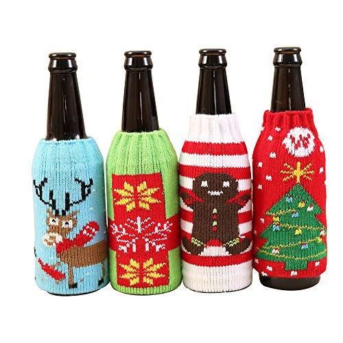 Gkmamrg Weihnachtsbaum Deko Weihnachtsbaumschmuck 4pcs, Christbaumschmuck Handgemachte Anhänger Weihnachten Weihnachtsbaum Weihnachtsmann Schneemann Elch Bär (Bierflasche Flaschenbeutel)
