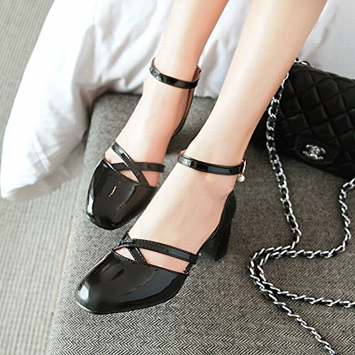 Mee Shoes Damen vierkant ankle strap Schnalle Sandalen Schwarz