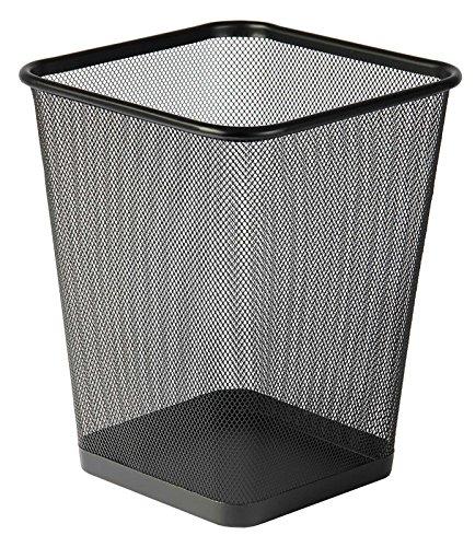 Osco WBSQ25-BLK - Papelera cuadrada de malla metálica, color negro