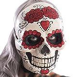 CARNIVAL TOYS 666Masque tête de Mort avec cœurs et Roses Scintillants, Multicolore, Taille Unique