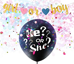 Amycute Baby Shower Party Decorations Gender Reveal Decorations With He Or She Banner Balloons Black Balloon Pink Blue Confetti Spirals Tablecloth Photo Props Küche Haushalt