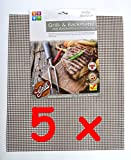 *TOP & MARKE* - 5 x Grillmatte Backgitter Backmatte BBQ Unterlage Gitter mit Antihaftbeschichtung