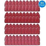 AUSTOR 80 Stücke Maus Detail Schleifpapier Dreieckig je 20 x 60 / 80 / 120 /240 Körnung Klett-Schleifdreiecke Für Dreieckschleifer 5 Loch