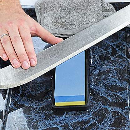S&R Piedra de Afilar Cuchillos 400/1000 en Corindón Profesional. Afilador de Cuchillos, Tijeras, Cinceles. Base de Silicona Antideslizante.