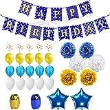 WERNNSAI Geburtstag Dekorationen Set Gold Blau Thema HAPPY BIRTHDAY Banner Girlande Konfetti Ballon Luftballons Bänder Papierblumen Pompons Stern Folienballons Partyzubehör für Kinder Erwachsene 43 Stück