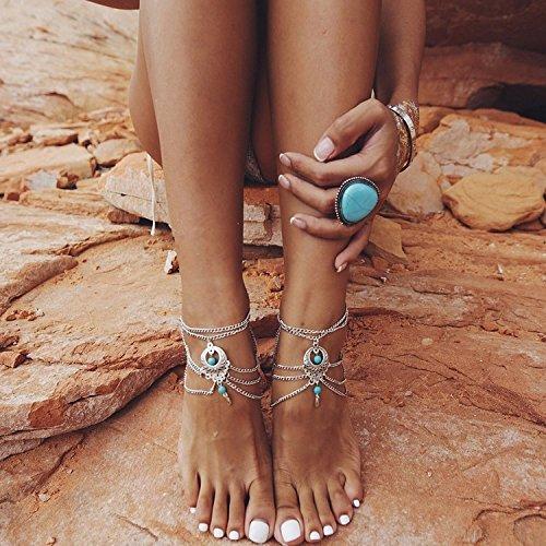 acf408ee37921a Kercisbeauty Old Fashion Hollow Out multi strato turchese perline  cavigliera spiaggia piede braccialetto a piedi nudi