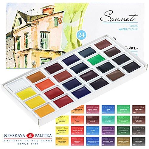 Aquarellfarbe set Hochwertig- Zur Auswahl: 16 oder 24 Farben - Qualität von Sonnet (16er Set) (24 Farben) (Junior Einhorn)