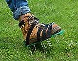 Kitclan 4 Riemen Rasenlüfter Schuhe, Rasenbelüfter Sandalen 5 cm lange Bodennägeln für Haus und Garten (1 Paar ) grün - 6