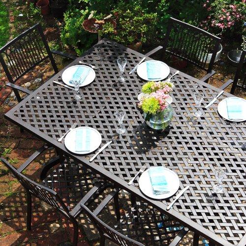 Salon de jardin aluminium - Table rectangulaire Sophia 200 x 120cm et 6 chaises April