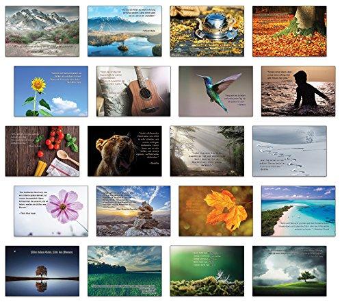 Achtsamkeit , Lebensweisheiten , inspirierende Zitate mit Bildern 20 verschiedene Postkarten Set / Postcrossing
