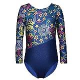 Enfants Fille Long Manches Dancewear Vêtements de Gymnastique Body Ballet Justaucorps (Bleu, 150(9-10 Ans))...