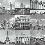 Rasch Portfolio London New York Paris Rom Stadt Foto Foto Tapeten - Schwarz Weiß 235715