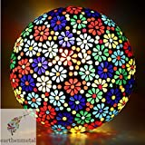 #8: Earthenmetal Handcrafted Mosaic Decorated Circular Multicoloured Flowers Glass Ceiling Lamp ,Multi Color