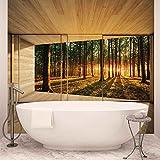 Fenster Wald Bäume Strahl Licht Natur - Forwall - Fototapete - Tapete - Fotomural - Mural Wandbild - (3307WM) - XXXL - 416cm x 254cm - VLIES (EasyInstall) - 4 Pieces