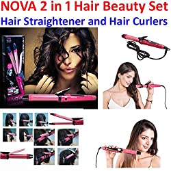 A To Z Sales NOVA 2 in 1 Hair Beauty Set Hair Straightener and Hair Curlers