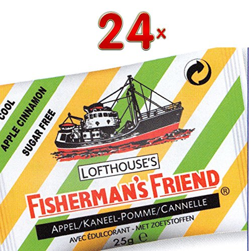 Fishermans Friend Pastillen (Fisherman's Friend Apple + Cinnamon sans sucre 24 x 25g Packung (Fisherman's Friend Pastillen Apfel und Zimt ohne Zuckerzusatz))