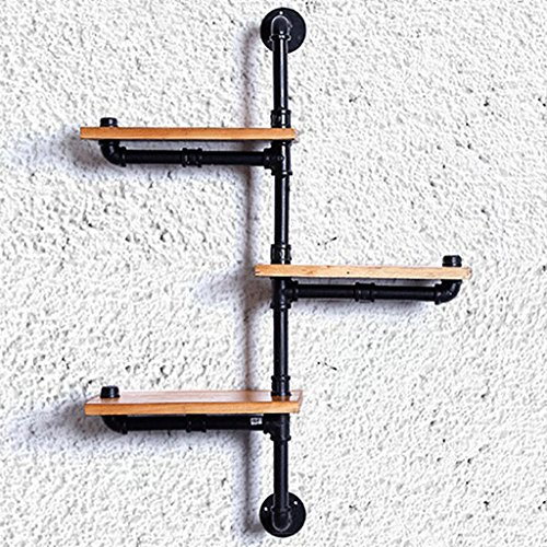 Book Jia bücherregale Retro industrielle kreative Wand hängen massivholz Eisen bücherregal/Wohnzimmer wandbehang schmiedeeisen Holz dekorative Display Regale (größe : 75 * 62 * 20cm)