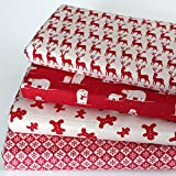 4 Fat Quarters - Scandi Christmas Red - Natural Unbleached Cotton - Vintage Style