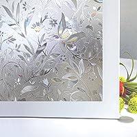 Zindoo vinilo de ventana vinilos decorativos para puertas de cristal Privacidad Ventana vidriera se aferran película decorativa de la ventana no pegamento estático Films (45 x 200 CM)