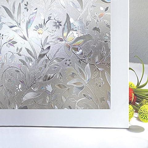 Zindoo stickers pour fenetre film de fenêtre adhésif film film pour fenetre anti regard & UV film pour vitre pour Decoration Maison Bureau Salle de Bain Chambre Cuisine 44.5cm × 200 cm