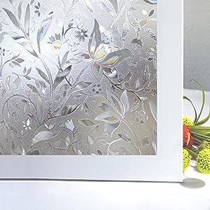 Zindoo Fensterfolie 3D Dekofolie Sichtschutzfolie Blumen Tulpe Ohne Kleber Dekorfolie Statisch Folie für Heim Kueche, Umkleide und Konferenzräume 44.5 x 200CM