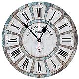 "Art Beauty Round Wall Clock Decorative/Vintage Style (Blue, 14"")"