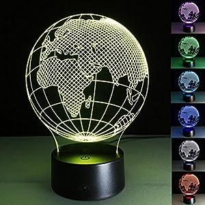 ZQQ Increíble LED 3D Luz de la noche África Mapa Acrílico 7 Color Cambio Ilusión Regalo Lámpara de sobremesa, touch