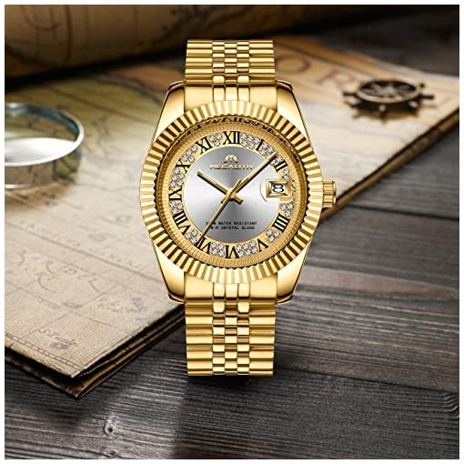 Mens Gold Stainless Steel Watches Men Luxury 30M Waterproof Calendar Date Rhinestone Designer Wrist Watch Gents Unisex Business Casual Fashion Dress Analogue Quartz Watch for Men with Silver Dial