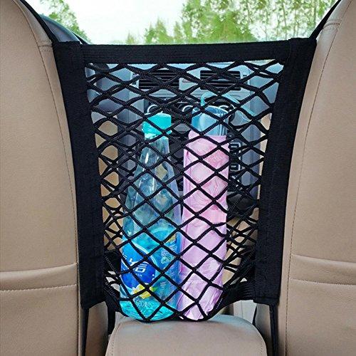 owikar Car Front Seat Storage Net Staubbeutel Universal dehnbar feine Auto Mesh Organizer Barriere der Rücksitz Pet Kinder Treiber Aufbewahrung Netz Tasche für Handy Wasser Papier Snacks Essen (Make-up Organizer Kofferraum)