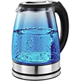 Pigeon by Stovekraft Crystal Glass Electric Kettle 1.8 Litre with LED Illumination, Heat Resistant Pyrex Clear Glass Body, Gl