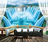 Yosot 3D Tapete Landschaft Balkon Lake Blue Wasserfall White Cloud Forest Tv Wohnzimmer Hintergrund Wand Custom Tapete-200Cmx140Cm