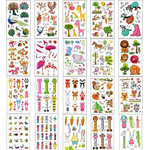 Simuer Kinder Tattoo Animals Temporäre Tattoos Wasserdichte Aufkleber Lions Zebra Sloth Giraffe Flamingos Elephant Elk Jungle Cartoon Sticker 20 Blatt