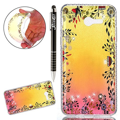 Coque Samsung Galaxy J3 2017 Glitter, Samsung Galaxy J3 2017 Coque Brillante, SainCat Ultra Slim TPU Silicone Case pour Samsung Galaxy J3 2017, Glitter Bling Diamante Strass Anti-Scratch Soft Gel 3D H Fleurs