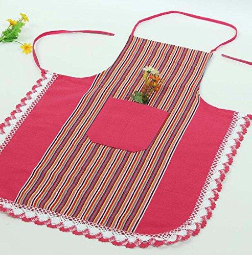 Hülsen-Schürze-Streifen-Plaid-moderne einfache Schürze zwei Stücke ( Color : Rosa ) -