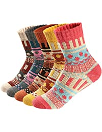 Womens 5 Pairs Vintage Style Soft Fall Winter Warm Thick Knit Wool Cozy Crew Socks