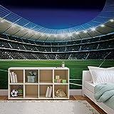 Tapeto Fototapete - Fußball Stadion Sport - Vlies 368 x 254 cm (Breite x Höhe) - Wandbild Tor Jungs Licht