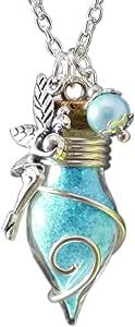 Katharina Fairytale - Collana da donna con ciondolo a forma di lampadina con una fata che si illumina di notte, colore turchese blu