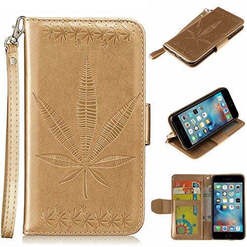 Case Cover IPhone 6 Plus, Double Side goffratura fiori di alta qualità del basamento di vibrazione pu custodia in pelle con laccio Portafoglio e slot per schede di cassa per IPhone 6 Plus ( Color : Wh Gold
