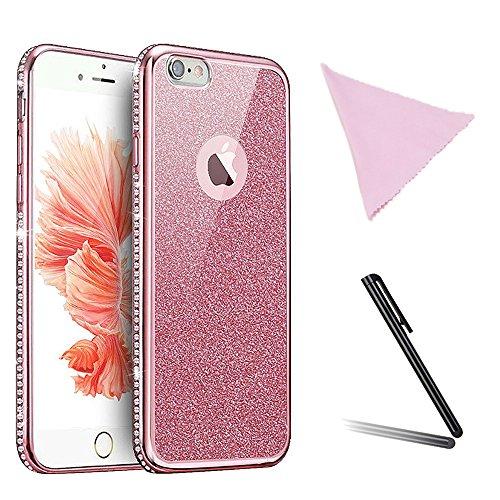 Custodia di moda glitter per iphone 6 plus iphone 6s plus,zympte diamante di bling antiscivolo con morbida placcatura silicone cassa per iphone 6 plus / 6s plus + 1xpenna e panno di pulizia (colore casuale) -oro rosa