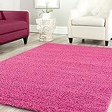 Teppich-Home Star Shaggy Teppich Farbe Hochflor Langflor Teppiche Modern für Wohnzimmer Schlafzimmer Uni Farben, Farbe:Pink, Maße:80x150 cm