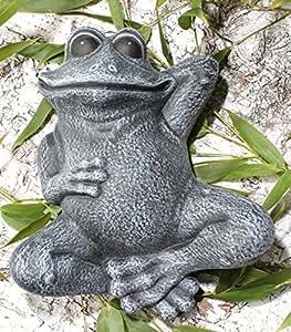 Statue en pierre grenouille couchée, gris ardoise, pierre reconstituée